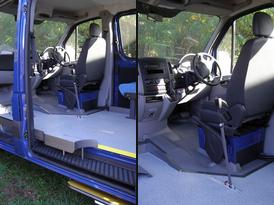 Front passenger & driver's areas